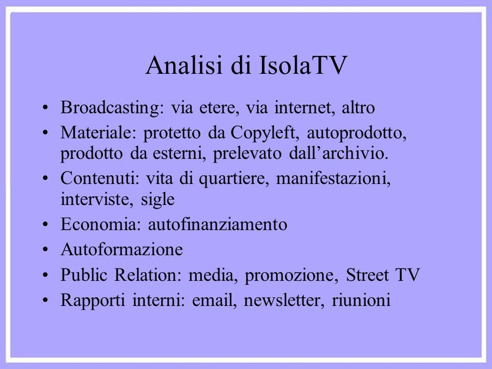 Analisi di IsolaTV Broadcasting: via etere, via internet, altro Materiale: protetto da Copyleft, autoprodotto, prodotto da esterni, prelevato dall'arc