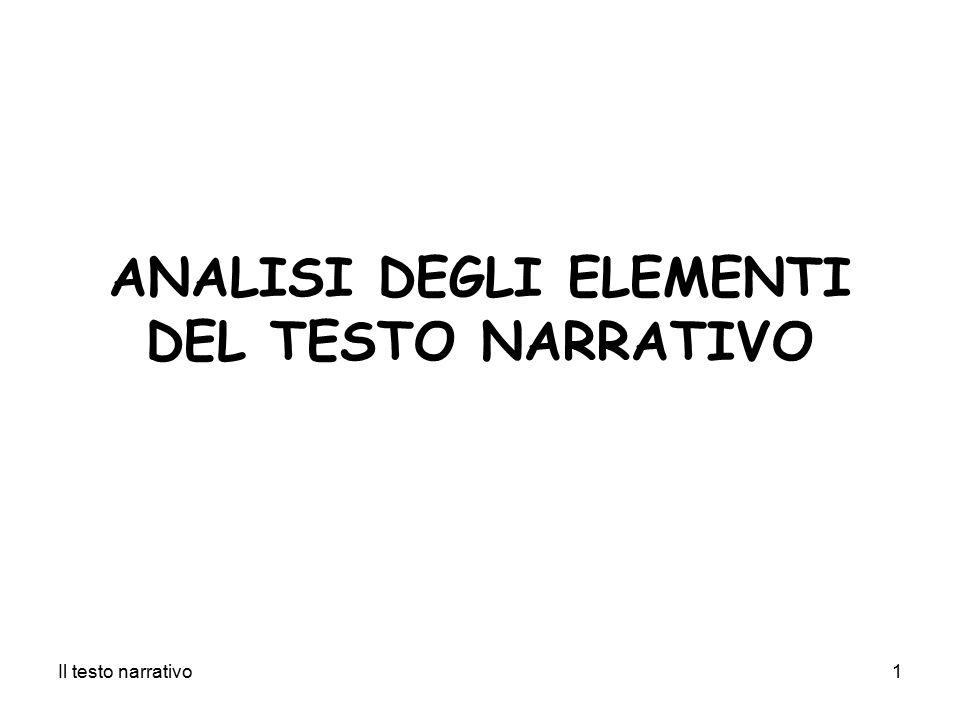 Il testo narrativo1 ANALISI DEGLI ELEMENTI DEL TESTO NARRATIVO