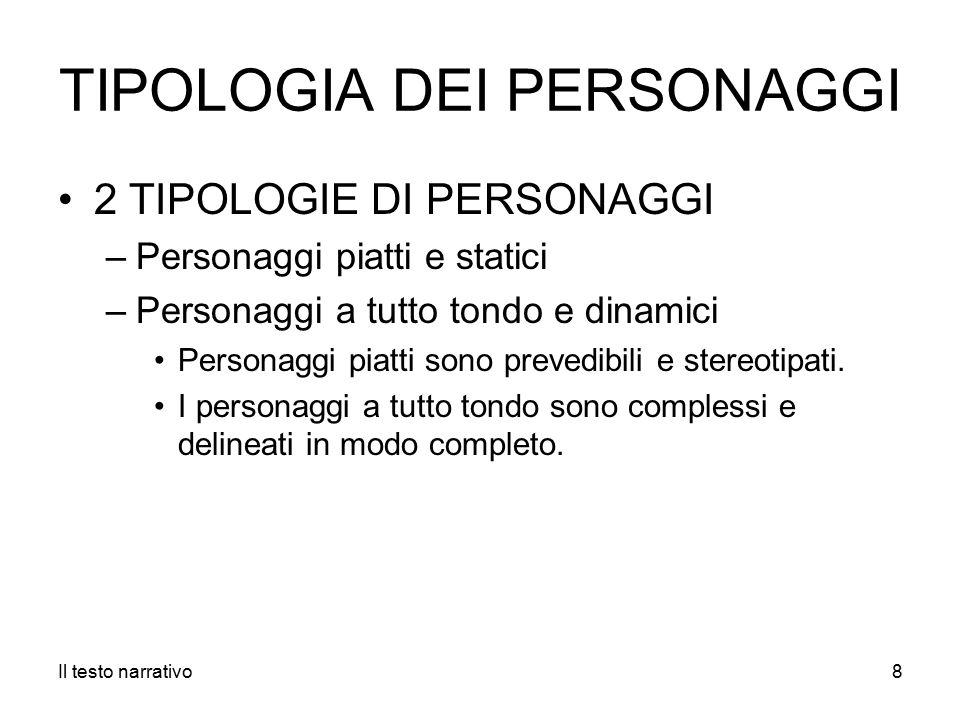 TIPOLOGIA DEI PERSONAGGI 2 TIPOLOGIE DI PERSONAGGI –Personaggi piatti e statici –Personaggi a tutto tondo e dinamici Personaggi piatti sono prevedibili e stereotipati.