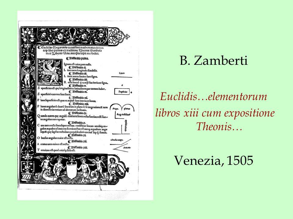 B. Zamberti Euclidis…elementorum libros xiii cum expositione Theonis… Venezia, 1505