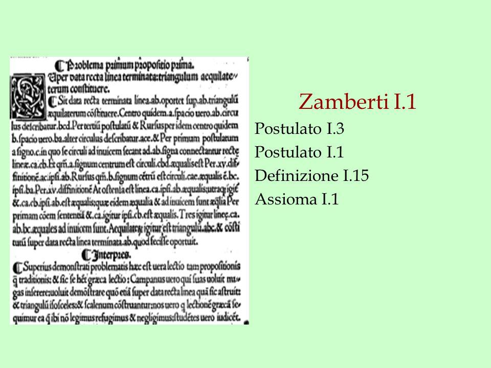 Zamberti I.1 Postulato I.3 Postulato I.1 Definizione I.15 Assioma I.1