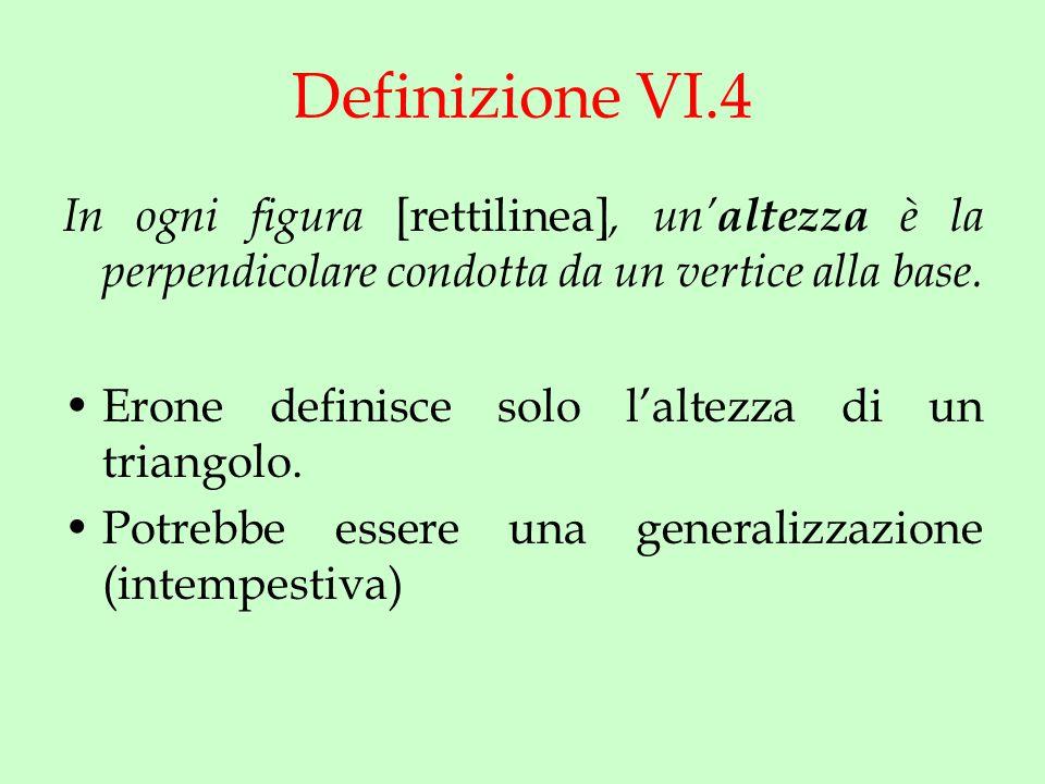 Definizione VI.4 In ogni figura [rettilinea], un' altezza è la perpendicolare condotta da un vertice alla base.