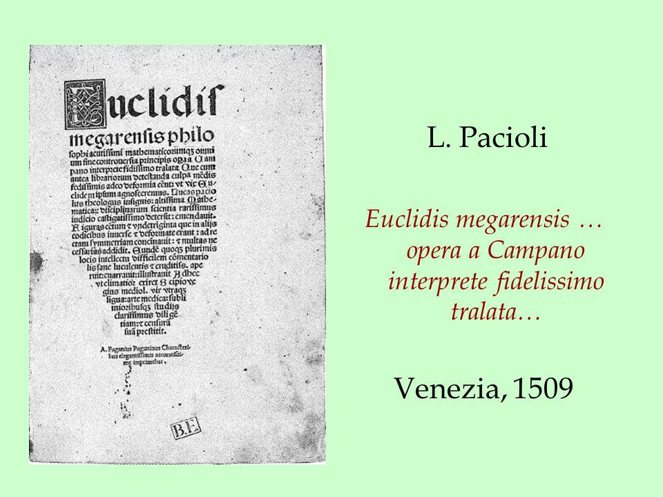 L. Pacioli Euclidis megarensis … opera a Campano interprete fidelissimo tralata… Venezia, 1509