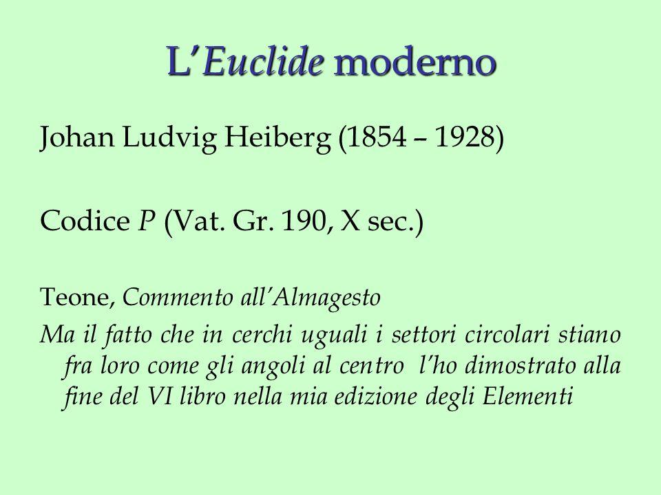 L' Euclide moderno Johan Ludvig Heiberg (1854 – 1928) Codice P (Vat.