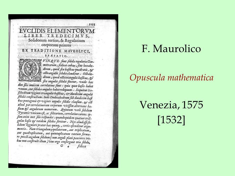 F. Maurolico Opuscula mathematica Venezia, 1575 [1532]
