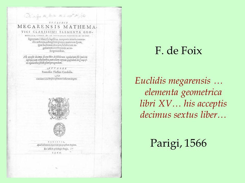 F. de Foix Euclidis megarensis … elementa geometrica libri XV… his acceptis decimus sextus liber… Parigi, 1566