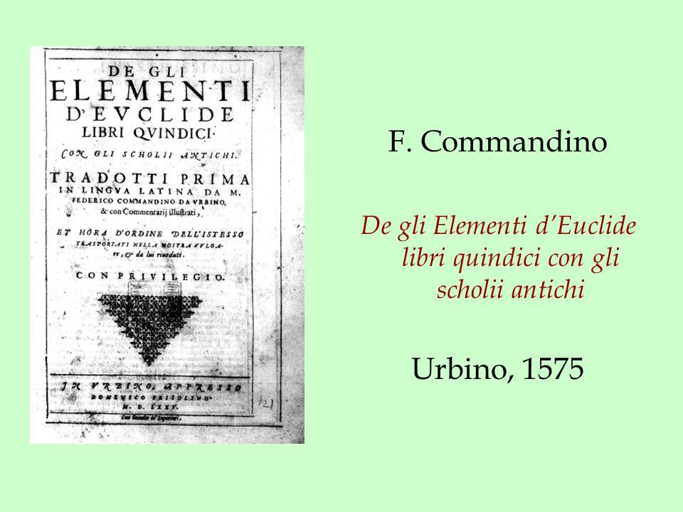F. Commandino De gli Elementi d'Euclide libri quindici con gli scholii antichi Urbino, 1575