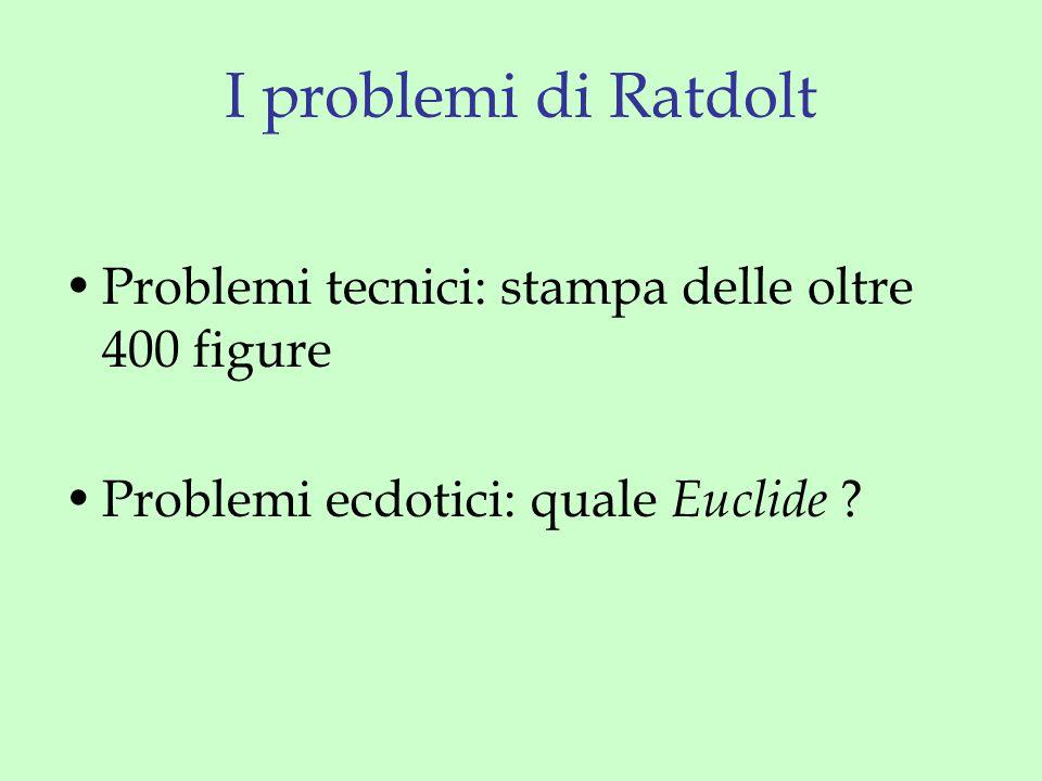 I problemi di Ratdolt Problemi tecnici: stampa delle oltre 400 figure Problemi ecdotici: quale Euclide