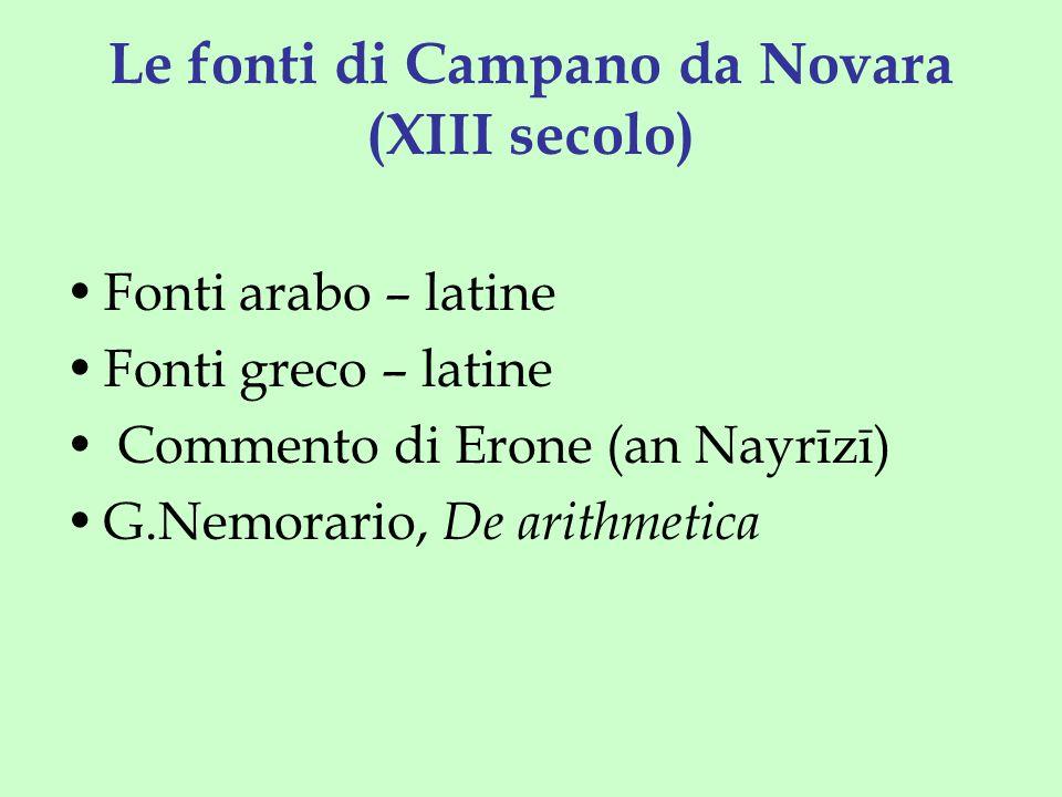Le fonti di Campano da Novara (XIII secolo) Fonti arabo – latine Fonti greco – latine Commento di Erone (an Nayrīzī) G.Nemorario, De arithmetica