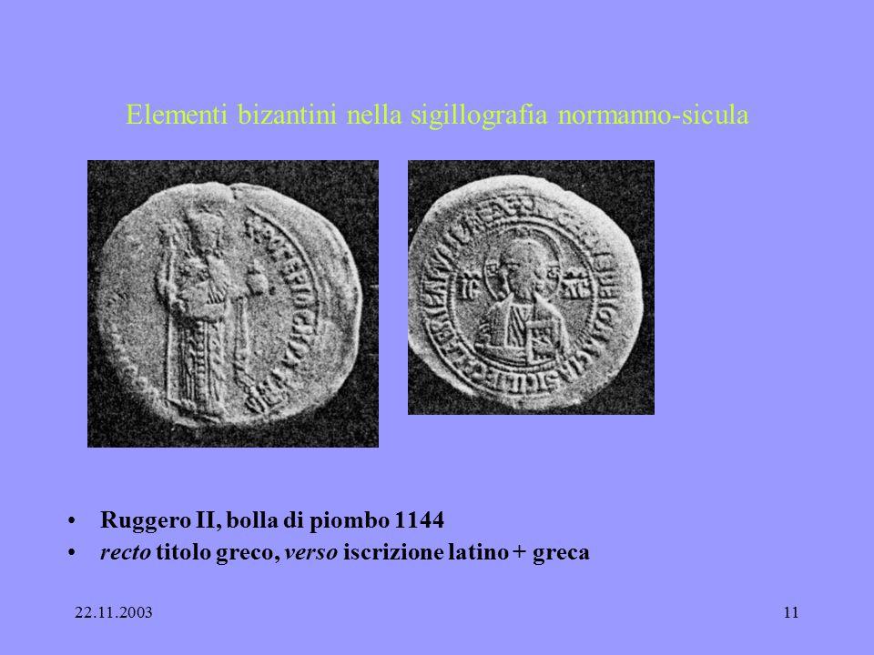 22.11.200310 Elementi bizantini nella sigillografia normanno-sicula Ruggero II. : 1130 rex Sicilie per il confronto : Niceforo III. (2), Alessio I., A