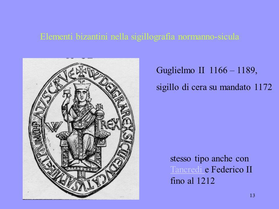 22.11.200312 Elementi bizantini nella sigillografia normanno-sicula Il titolo greco sostituito da quello latino:+ W DI GRA REX SCL DVCAT APVL ET PRINC