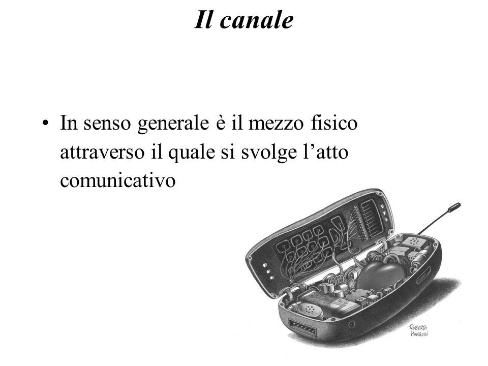 Il canale In senso generale è il mezzo fisico attraverso il quale si svolge l'atto comunicativo