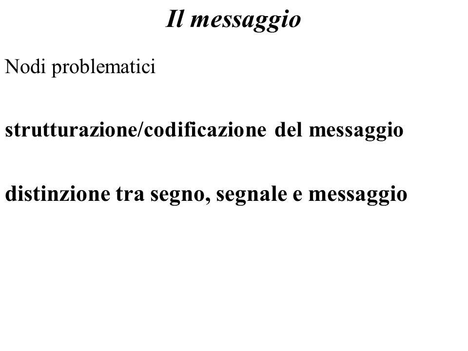 Nodi problematici strutturazione/codificazione del messaggio distinzione tra segno, segnale e messaggio Il messaggio