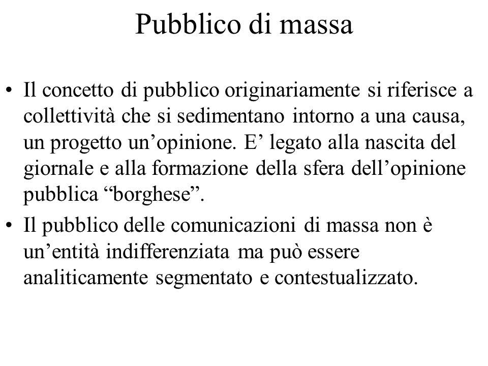 Pubblico di massa Il concetto di pubblico originariamente si riferisce a collettività che si sedimentano intorno a una causa, un progetto un'opinione.