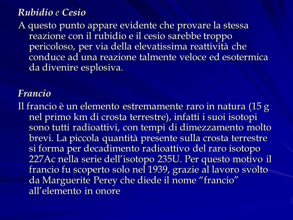 Rubidio e Cesio A questo punto appare evidente che provare la stessa reazione con il rubidio e il cesio sarebbe troppo pericoloso, per via della eleva