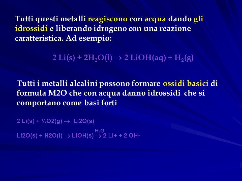 Tutti questi metalli reagiscono con acqua dando gli idrossidi e liberando idrogeno con una reazione caratteristica. Ad esempio: 2 Li(s) + 2H 2 O(l) 