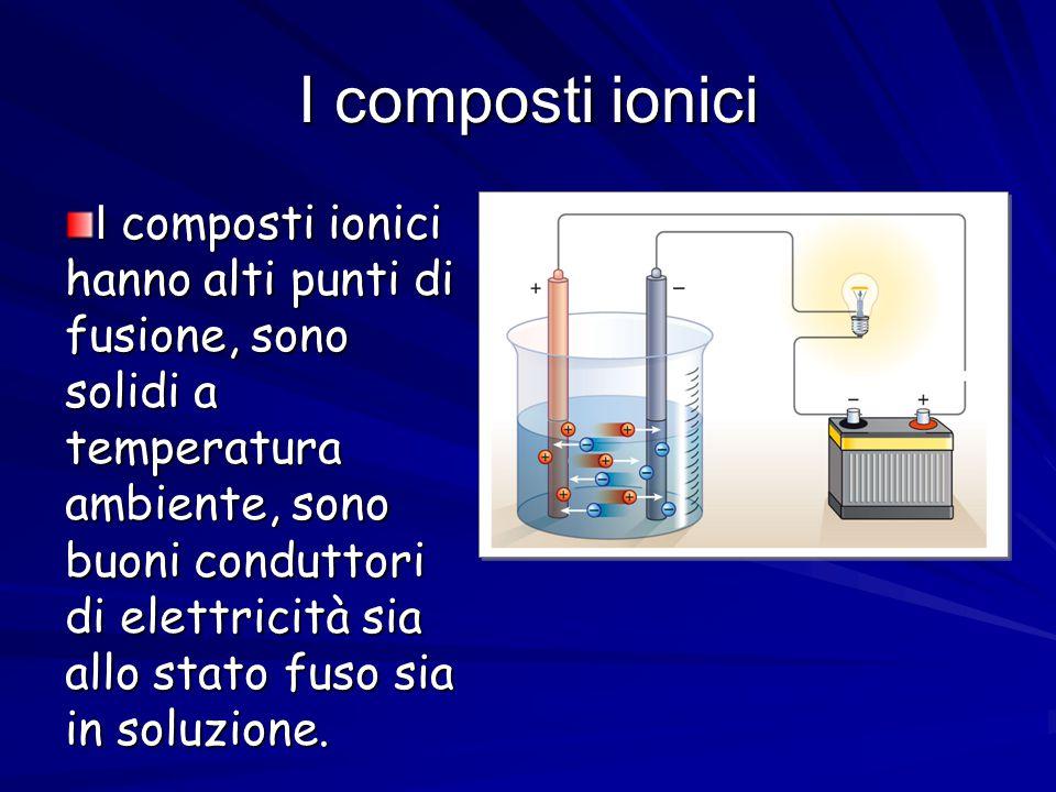 I composti ionici I composti ionici hanno alti punti di fusione, sono solidi a temperatura ambiente, sono buoni conduttori di elettricità sia allo sta