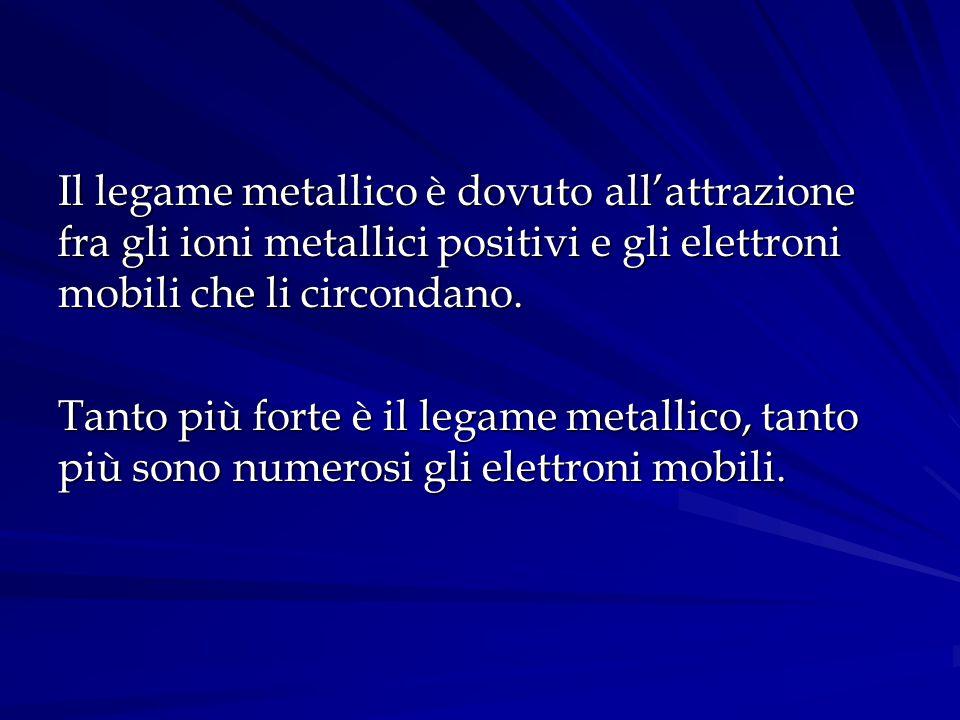 Il legame metallico è dovuto all'attrazione fra gli ioni metallici positivi e gli elettroni mobili che li circondano. Tanto più forte è il legame meta