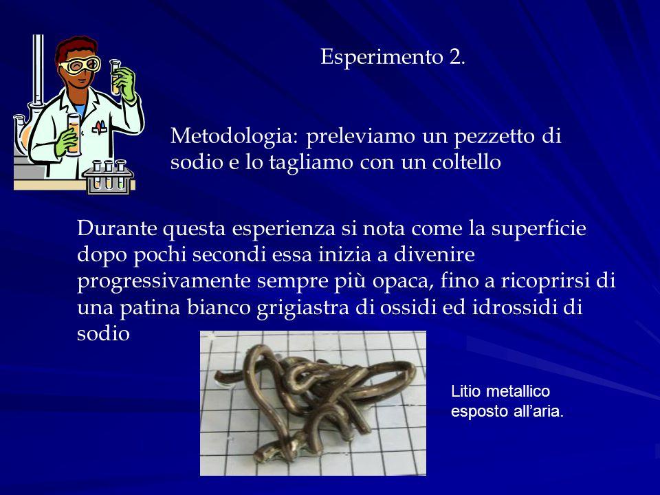 Esperimento 2. Metodologia: preleviamo un pezzetto di sodio e lo tagliamo con un coltello Durante questa esperienza si nota come la superficie dopo po