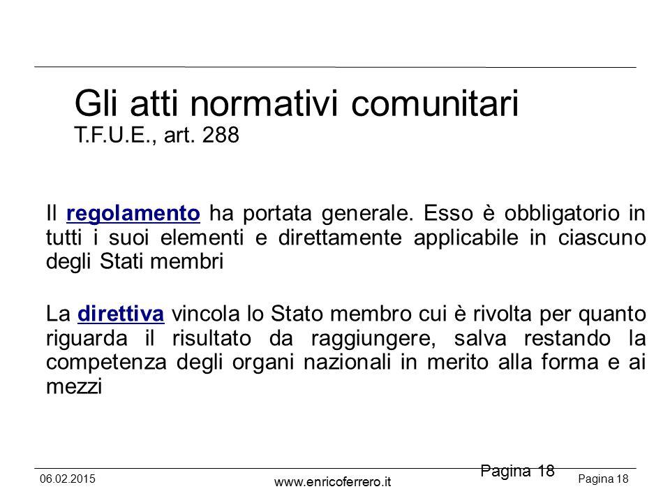 06.02.2015Pagina 18 www.enricoferrero.it Pagina 18 Gli atti normativi comunitari T.F.U.E., art.