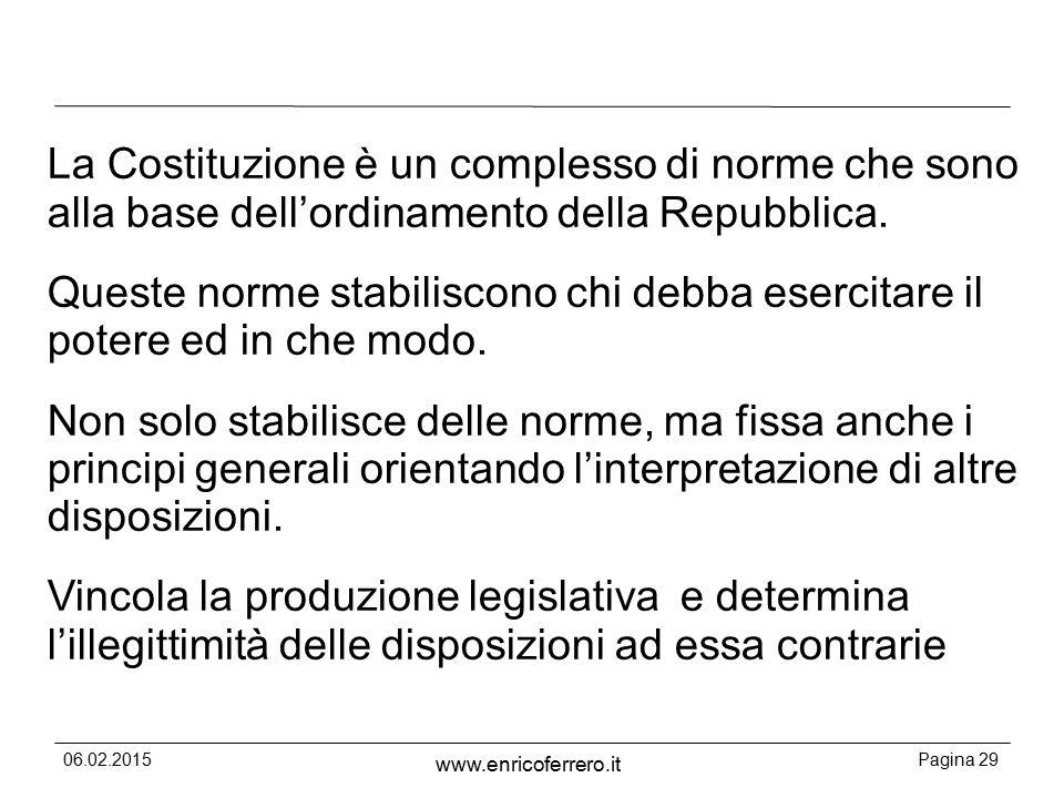06.02.2015Pagina 29 www.enricoferrero.it La Costituzione è un complesso di norme che sono alla base dell'ordinamento della Repubblica.
