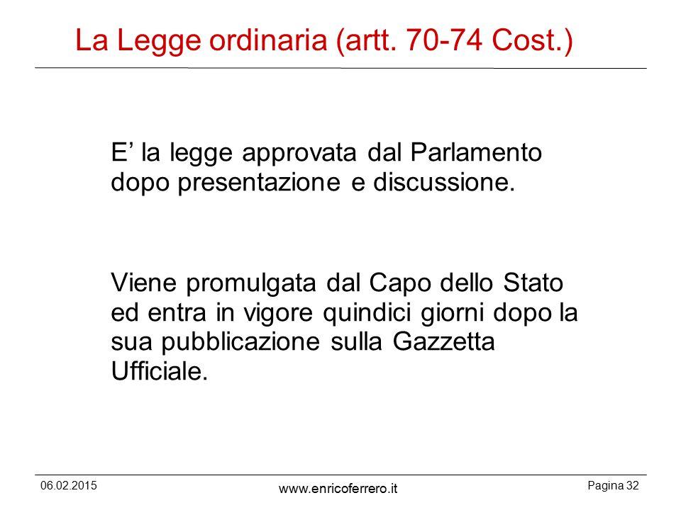 06.02.2015Pagina 32 www.enricoferrero.it La Legge ordinaria (artt.