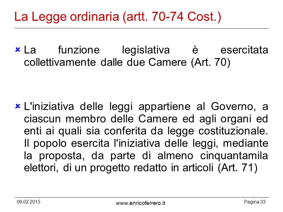06.02.2015Pagina 33 www.enricoferrero.it La Legge ordinaria (artt.