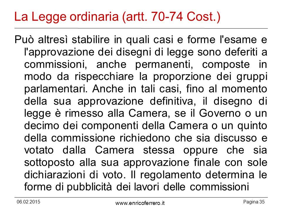 06.02.2015Pagina 35 www.enricoferrero.it La Legge ordinaria (artt.