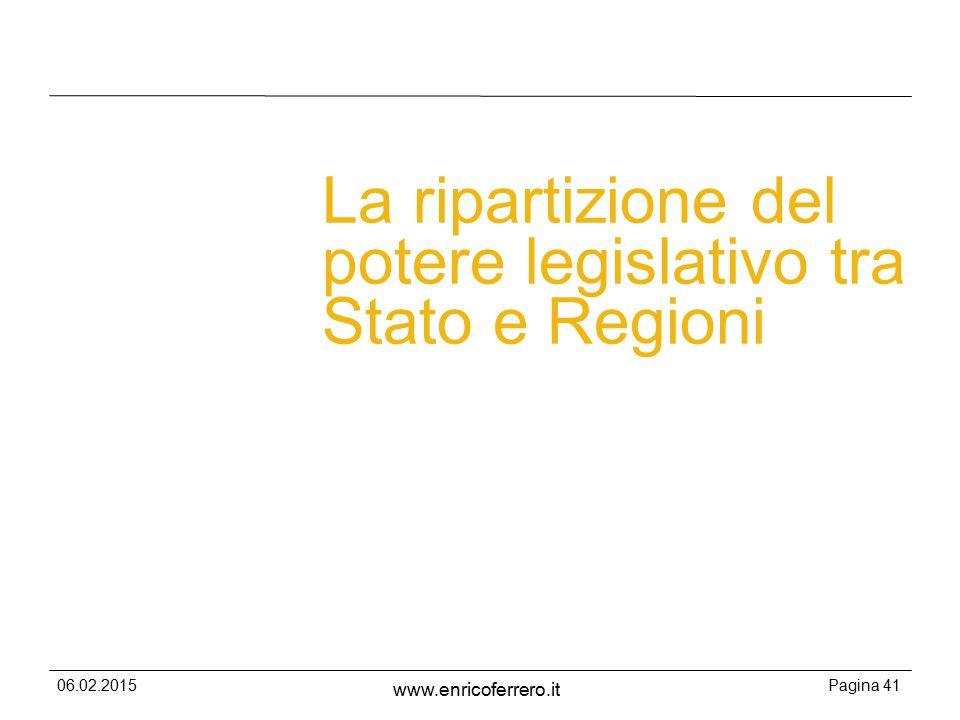 06.02.2015Pagina 41 www.enricoferrero.it La ripartizione del potere legislativo tra Stato e Regioni