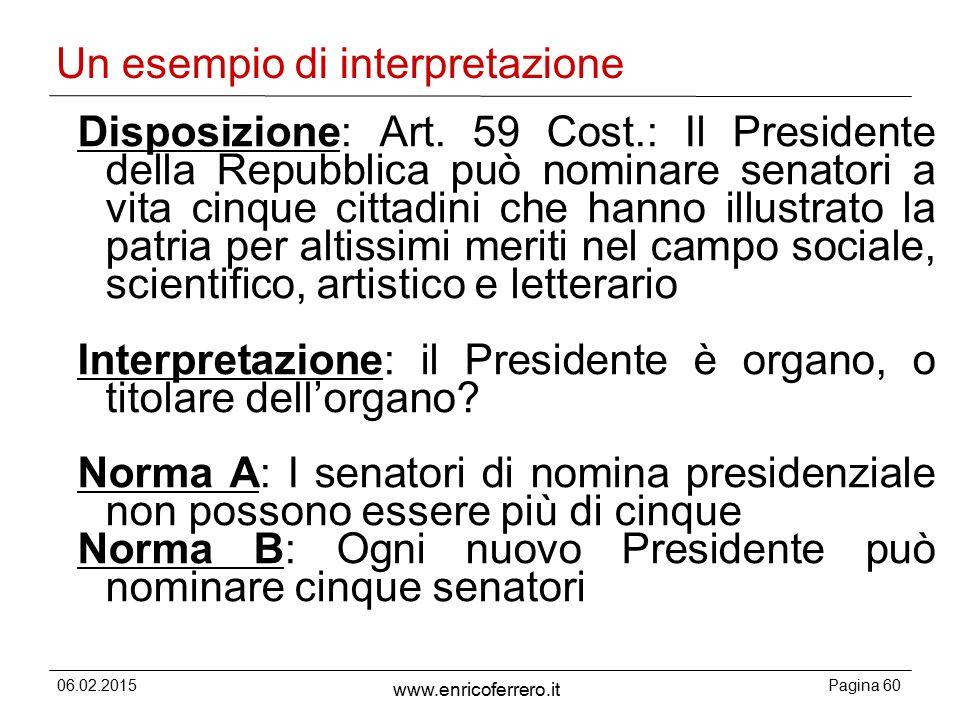 06.02.2015Pagina 60 www.enricoferrero.it Un esempio di interpretazione Disposizione: Art.