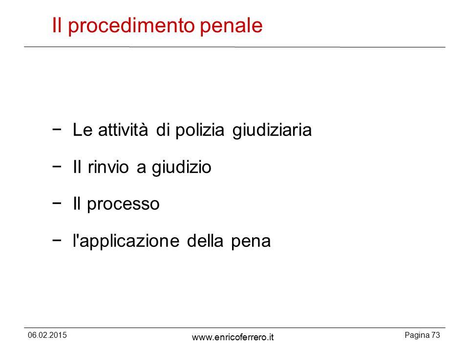 06.02.2015Pagina 73 www.enricoferrero.it Il procedimento penale − Le attività di polizia giudiziaria − II rinvio a giudizio − Il processo − l applicazione della pena
