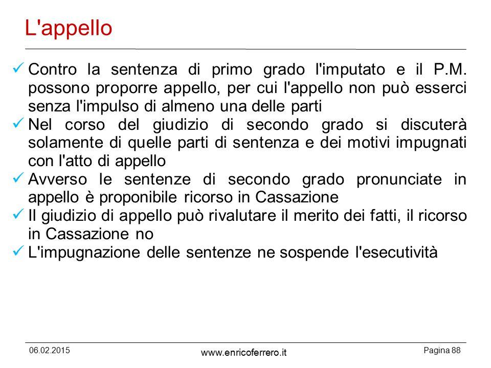 06.02.2015Pagina 88 www.enricoferrero.it L appello Contro la sentenza di primo grado l imputato e il P.M.
