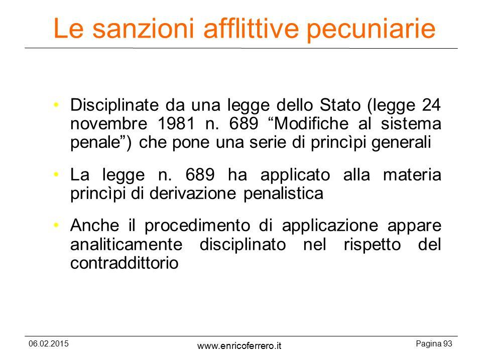 06.02.2015Pagina 93 www.enricoferrero.it Le sanzioni afflittive pecuniarie Disciplinate da una legge dello Stato (legge 24 novembre 1981 n.