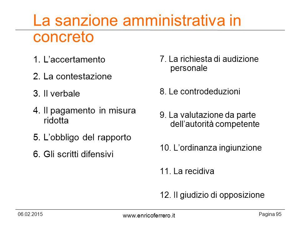 06.02.2015Pagina 95 www.enricoferrero.it La sanzione amministrativa in concreto 1.