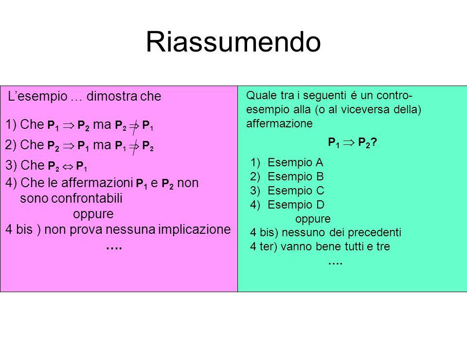Riassumendo L'esempio … dimostra che 1) Che P 1  P 2 ma P 2  P 1 2) Che P 2  P 1 ma P 1  P 2 3) Che P 2  P 1 4) Che le affermazioni P 1 e P 2 non