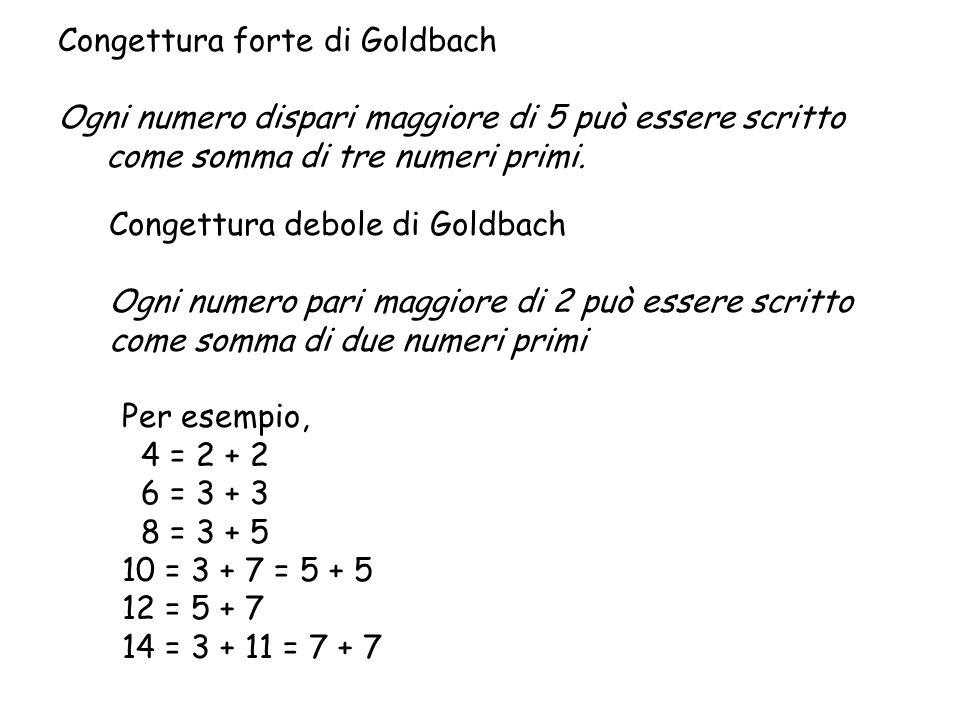 Congettura forte di Goldbach Ogni numero dispari maggiore di 5 può essere scritto come somma di tre numeri primi. Congettura debole di Goldbach Ogni n