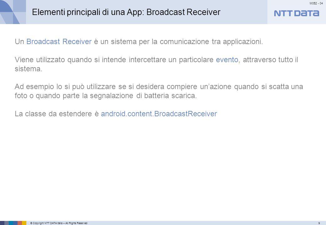 © Copyright NTT DATA Italia – All Rights Reserved9 M052 - 04 Primo meseSecondo mese…………… Elementi principali di una App: Broadcast Receiver Un Broadcast Receiver è un sistema per la comunicazione tra applicazioni.