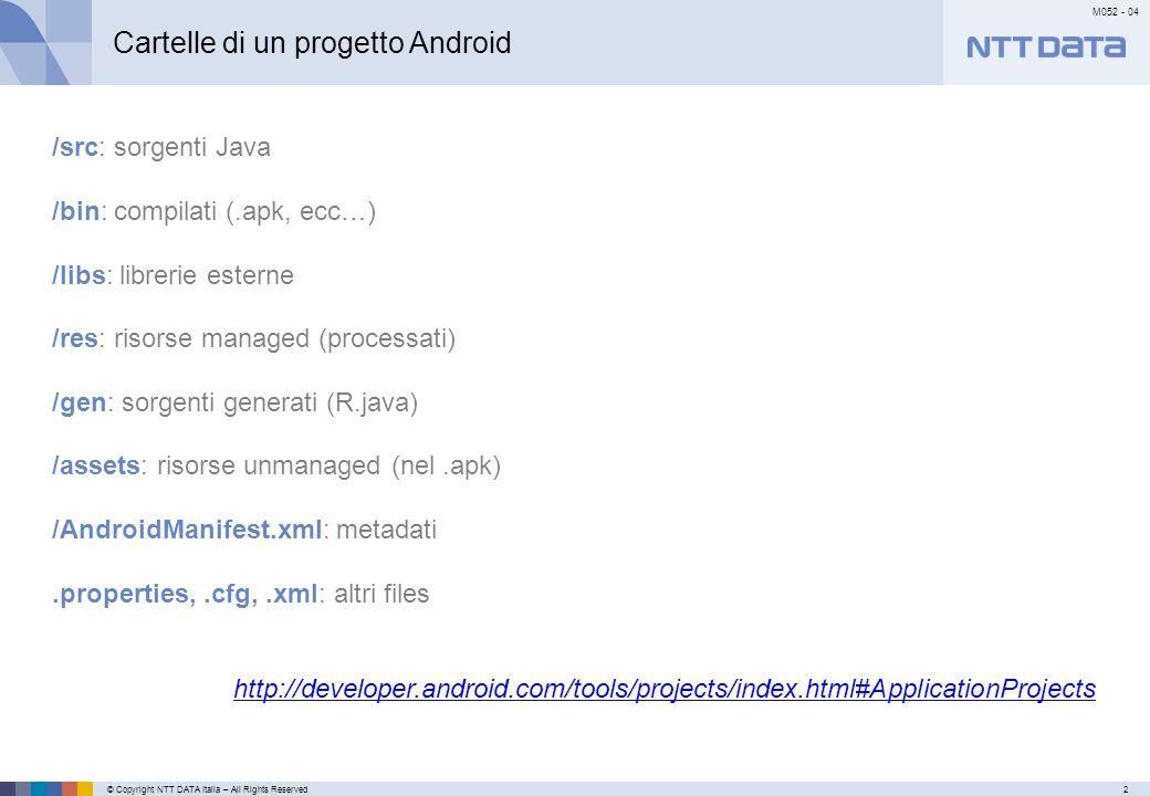 © Copyright NTT DATA Italia – All Rights Reserved2 M052 - 04 Primo mese Cartelle di un progetto Android /src: sorgenti Java /bin: compilati (.apk, ecc…) /libs: librerie esterne /res: risorse managed (processati) /gen: sorgenti generati (R.java) /assets: risorse unmanaged (nel.apk) /AndroidManifest.xml: metadati.properties,.cfg,.xml: altri files http://developer.android.com/tools/projects/index.html#ApplicationProjects