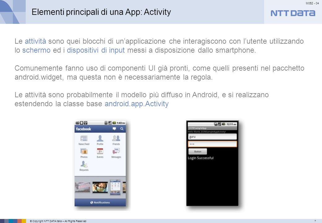 © Copyright NTT DATA Italia – All Rights Reserved7 M052 - 04 Primo meseSecondo mese…………… Elementi principali di una App: Activity Le attività sono que
