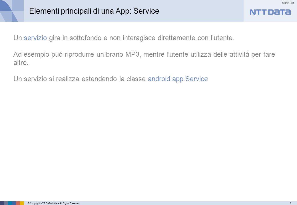 © Copyright NTT DATA Italia – All Rights Reserved8 M052 - 04 Primo meseSecondo mese…………… Elementi principali di una App: Service Un servizio gira in sottofondo e non interagisce direttamente con l'utente.