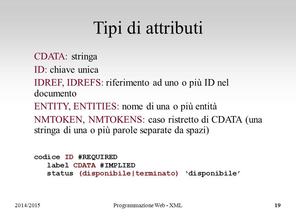 2014/2015 Tipi di attributi 19 CDATA: stringa ID: chiave unica IDREF, IDREFS: riferimento ad uno o più ID nel documento ENTITY, ENTITIES: nome di una o più entità NMTOKEN, NMTOKENS: caso ristretto di CDATA (una stringa di una o più parole separate da spazi) codice ID #REQUIRED label CDATA #IMPLIED status (disponibile|terminato) 'disponibile' Programmazione Web - XML19