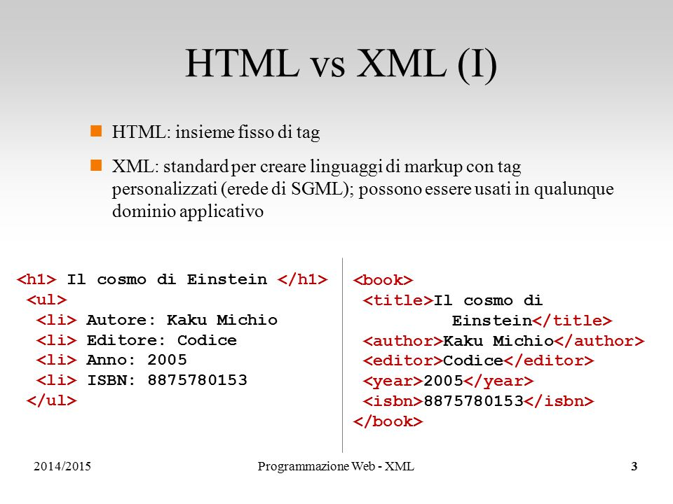 2014/2015 HTML vs XML (I) HTML: insieme fisso di tag XML: standard per creare linguaggi di markup con tag personalizzati (erede di SGML); possono essere usati in qualunque dominio applicativo Il cosmo di Einstein Autore: Kaku Michio Editore: Codice Anno: 2005 ISBN: 8875780153 Il cosmo di Einstein Kaku Michio Codice 2005 8875780153 3Programmazione Web - XML3