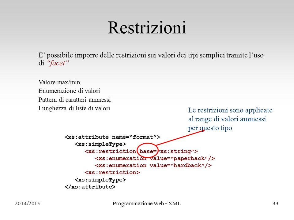 Sistemi Informativi e Servizi E' possibile imporre delle restrizioni sui valori dei tipi semplici tramite l'uso di facet Valore max/min Enumerazione di valori Pattern di caratteri ammessi Lunghezza di liste di valori Le restrizioni sono applicate al range di valori ammessi per questo tipo Restrizioni 2014/2015Programmazione Web - XML33