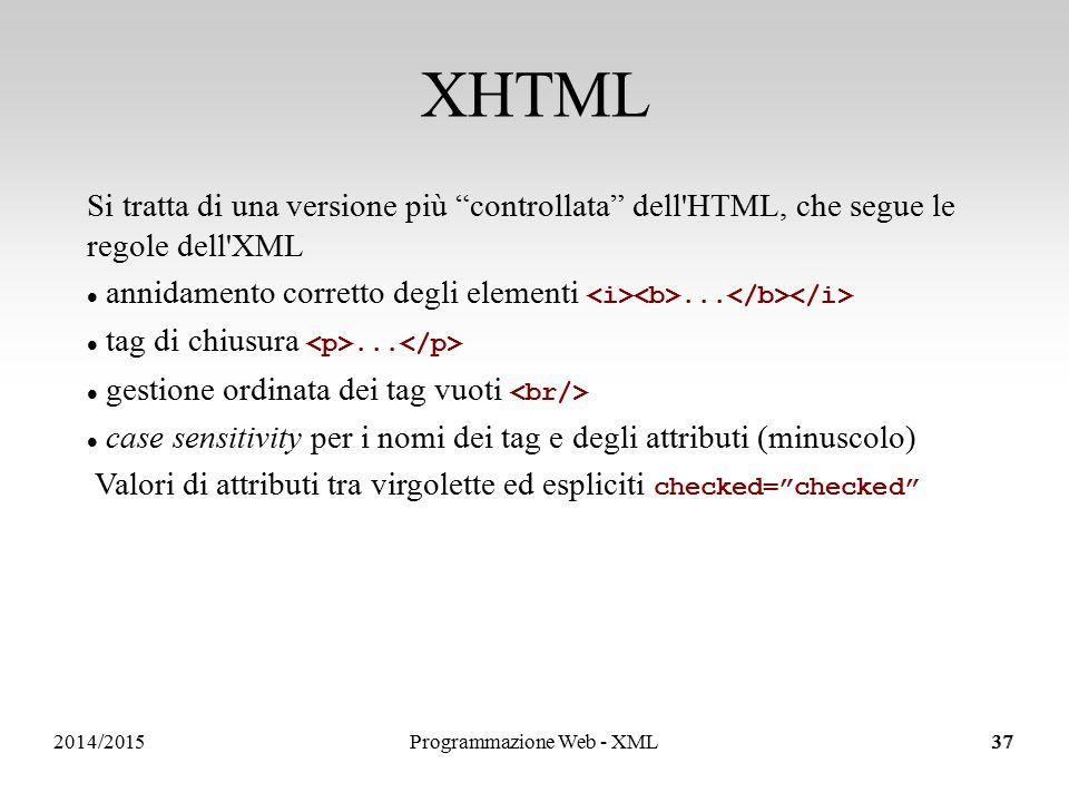 2014/201537 XHTML Si tratta di una versione più controllata dell HTML, che segue le regole dell XML annidamento corretto degli elementi...