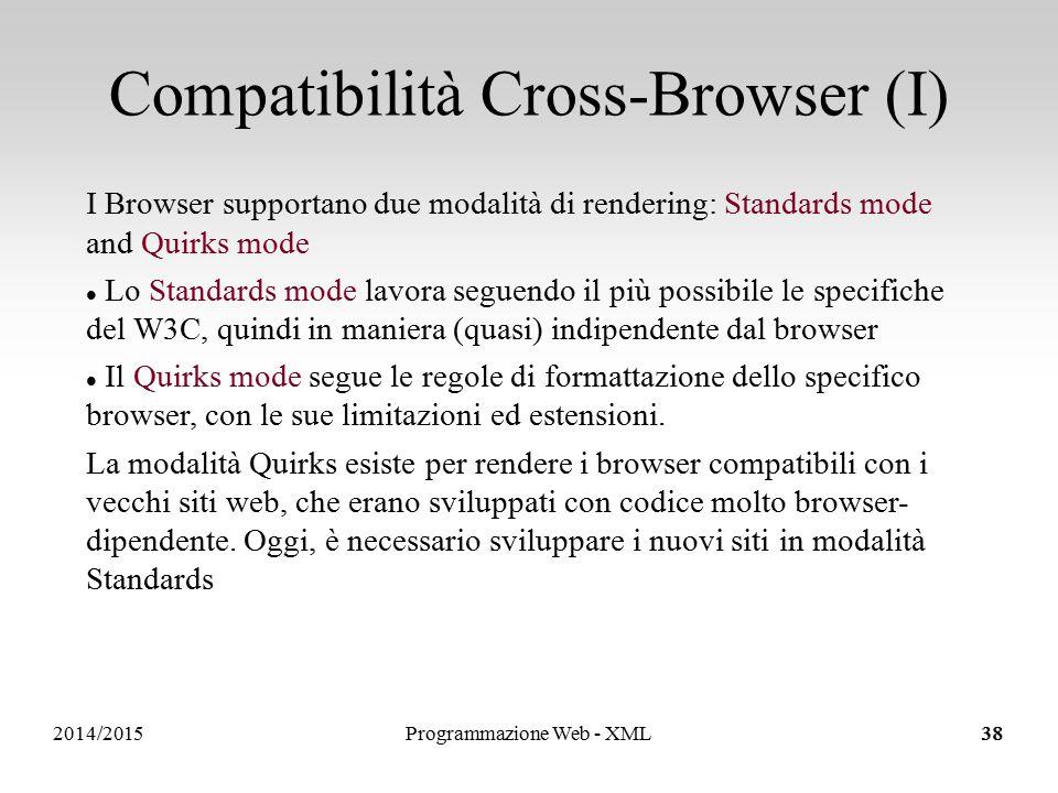 2014/201538 Compatibilità Cross-Browser (I) I Browser supportano due modalità di rendering: Standards mode and Quirks mode Lo Standards mode lavora seguendo il più possibile le specifiche del W3C, quindi in maniera (quasi) indipendente dal browser Il Quirks mode segue le regole di formattazione dello specifico browser, con le sue limitazioni ed estensioni.