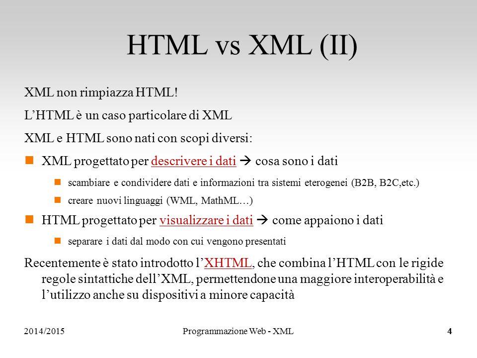 Sistemi Informativi e Servizi Riferimento ad altri elementi Attraverso l'attributo ref ci si può riferire ad un elemento definito altrove … … 2014/2015Programmazione Web - XML35
