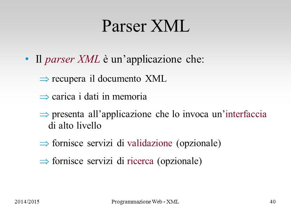 Il parser XML è un'applicazione che:  recupera il documento XML  carica i dati in memoria  presenta all'applicazione che lo invoca un'interfaccia di alto livello  fornisce servizi di validazione (opzionale)  fornisce servizi di ricerca (opzionale) Parser XML 2014/2015Programmazione Web - XML40
