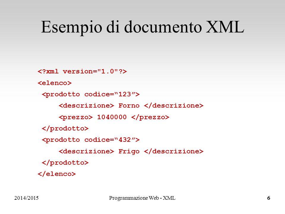 Sistemi Informativi e Servizi Possono contenere solo testo (nessun sottoelemento o attributo) Definizione di elementi semplici: Esempi di definizione di elementi semplici in XSD Elementi semplici in un documento XML 65 Rossi Elementi semplici 2014/2015Programmazione Web - XML27