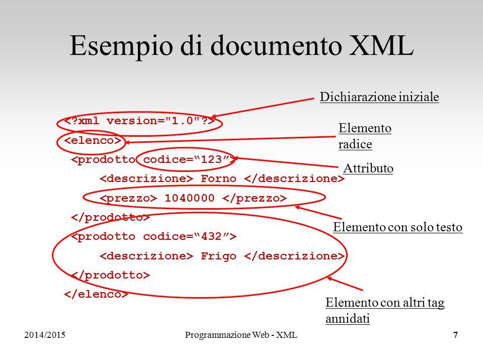 2014/2015 Dichiarazione di attributi 18 Per ogni elemento il DTD dice: quali attributi può avere il tag che valori può assumere ciascun attributo eventuali vincoli sulla cardinalità degli attributi qual è il valore di default Esempio di dichiarazione di attributo: <!ATTLIST PRODOTTO codice ID #REQUIRED label CDATA #IMPLIED status (disponibile   terminato) disponibile > Programmazione Web - XML18