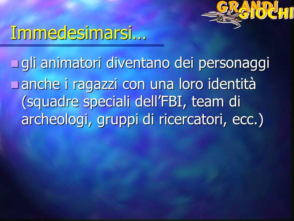 Immedesimarsi… gli animatori diventano dei personaggi gli animatori diventano dei personaggi anche i ragazzi con una loro identità (squadre speciali dell'FBI, team di archeologi, gruppi di ricercatori, ecc.) anche i ragazzi con una loro identità (squadre speciali dell'FBI, team di archeologi, gruppi di ricercatori, ecc.)
